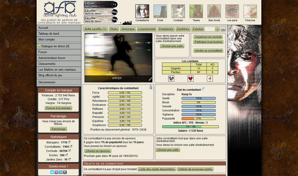Active Fighting Club : jeu en ligne de gestion de combattants en arts martiaux