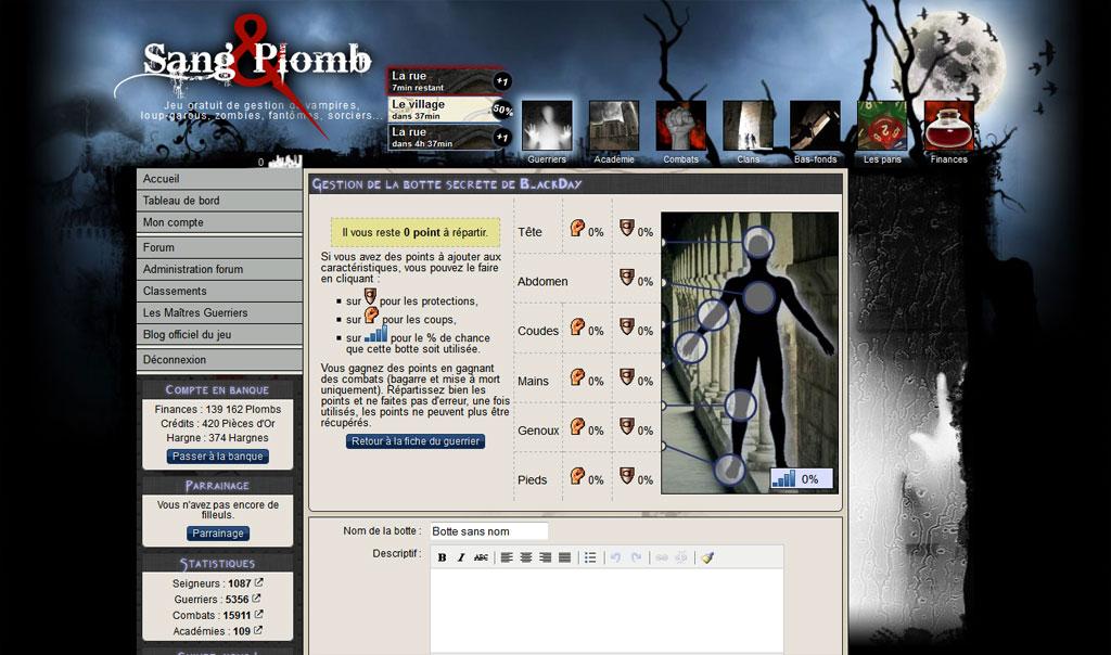Sang & Plomb : jeu en ligne avec des vampires, loup-garous, zombis...