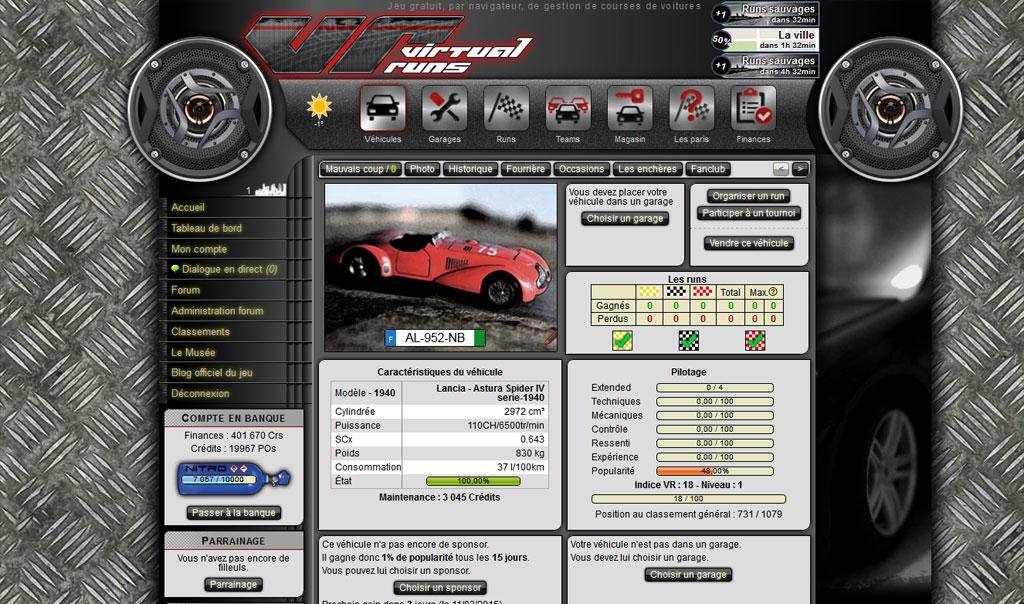 Virtual Runs : jeu en ligne de courses de voitures