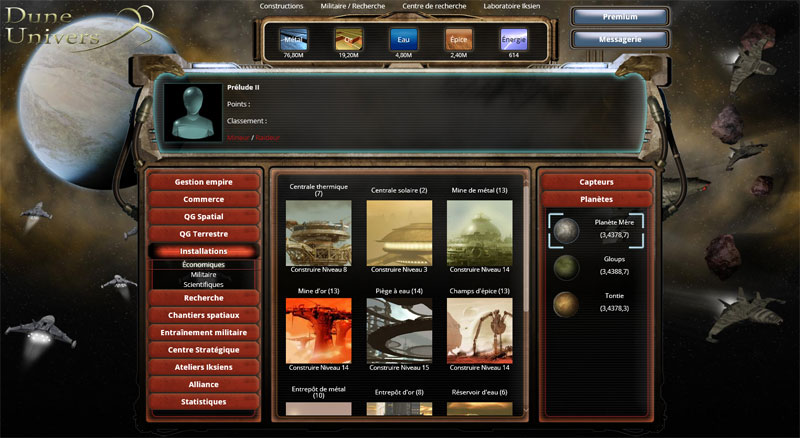 Dune Univers : jeu en ligne de guerre dans l'espace